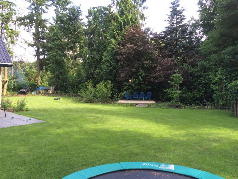 zicht op de vlonder vanaf trampoline
