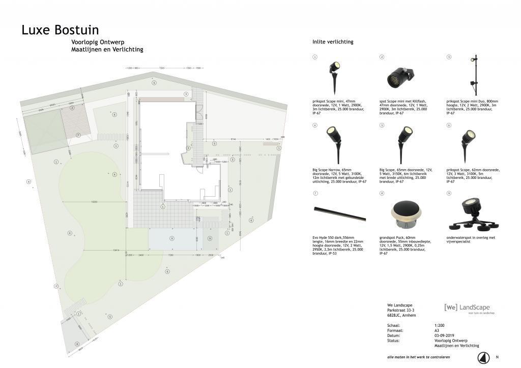 Voorlopig ontwerp luxe bostuin verlichtingsplan